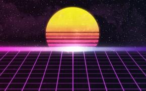 Картинка Солнце, Музыка, Звезды, Неон, Космос, Звезда, Фон, Retro, Synthpop, Darkwave, Synth, Retrowave, Synthwave, Synth pop