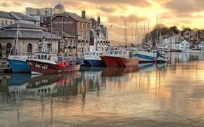 Картинка лодка, Англия, дома, гавань, Уэймут