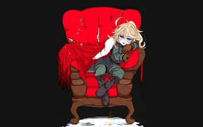 Картинка girl, soldier, military, war, anime, chibi, blonde, asian, sofa, manga, gloves, oriental, asiatic, powerful, strong, …