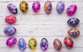 Картинка весна, colorful, Пасха, wood, spring, Easter, eggs, decoration, Happy, frame, яйца крашеные