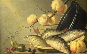 Картинка дерево, масло, еда, картина, Хармен ван Стенвейк, Натюрморт с Рыбами и Фруктами