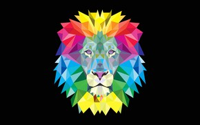 Обои лев, low poly, краски, вектор, грива, животное