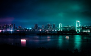Картинка отражения, ночь, мост, огни, здания, небоскребы, Япония, Токио, Tokyo, Japan, Минато, Minato, Tokyo Bay, Токийский …