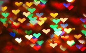Обои зима, свет, любовь, оранжевый, синий, желтый, красный, яркий, абстракция, прозрачный, зеленый, блики, розовый, праздник, нежный, ...