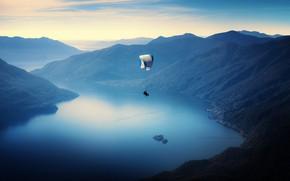 Картинка пейзаж, природа, парашутист