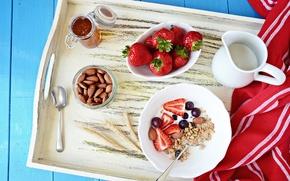 Картинка молоко, клубника, мед, виноград, орехи, Strawberry, Milk, мюсли, Nuts