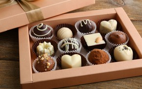 Картинка коробка, шоколад, десерт, шоколадные конфеты