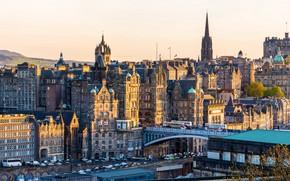 Картинка осень, солнце, деревья, машины, дороги, дома, Шотландия, мосты, Эдинбург