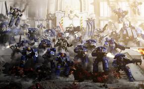 Картинка оружие, здание, ступени, воины, Defence of Ultramar