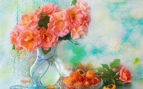 Картинка капли, розы, ваза, черешня, абрикосы