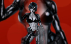 Картинка девушка, секси, арт, в чёрном костюме