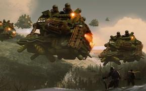 Картинка лес, горы, воины, летательные аппараты, recon squad