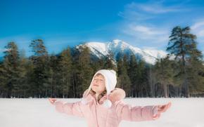 Картинка Зима, Горы, Дети, Руки, Ребёнок, Девочка Шапка