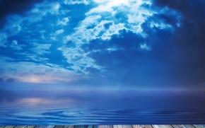 Картинка небо, вода, помост