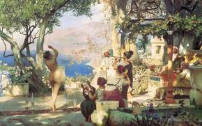 Обои Танец среди мечей, масло, горы, Холст, 1881, выступление, озеро, голая женщина, Генрих СЕМИРАДСКИЙ
