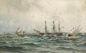 Картинка 1844, Море и корабли, Пейзаж морской, fullsize, Герман Густав аф Силлен