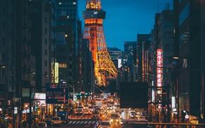 Картинка машины, улица, Токио, Телевизионная башня