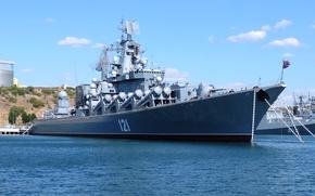 Картинка Москва, крейсер, ракетный, гвардейский, Черноморский Флот, проект 1164