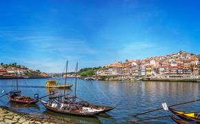 Картинка небо, солнце, река, дома, лодки, Португалия, Порту