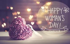 Обои Women's Day, 8 марта, подарок, bokeh, hearts