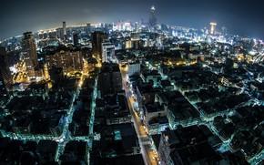 Обои город, ночь, дома