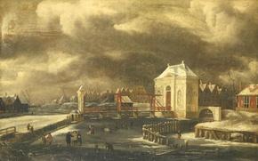 Картинка масло, картина, холст, Ян ван Кессель младший, Ворота Святого Пути в Амстердаме Зимой
