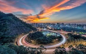 Картинка Sunset, Taiwan, Light Trail