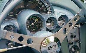 Обои Corvette, приборы, руль, Chevrolet