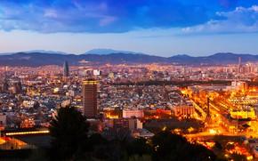 Картинка город, ночные огни, небоскребы, европа