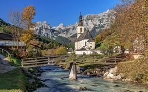 Обои Баварские Альпы, Ramsau, Bavarian Alps, деревья, Германия, церковь, Bavaria, Germany, мост, река, Ramsauer Ache River, ...