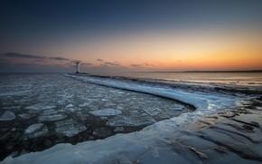 Картинка зима, море, закат, берег, маяк, лёд