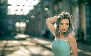 Картинка лето, девушка, лицо, фон, волосы