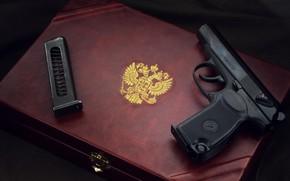 Картинка оружие, gun, pistol, weapon, пистолет макарова, Макаров, Герб Российской Федерации, Makarov