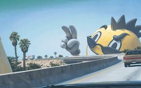 Картинка мост, пальмы, трасса, автомобиль, on ramp