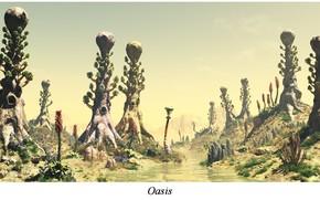 Картинка холмы, растительность, гора, водоём, Oasis