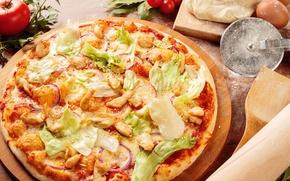 Картинка сыр, пицца, капуста, тесто