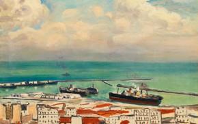 Картинка море, корабль, дома, картина, гавань, городской пейзаж, Albert Marquet, Альбер Марке, Облака и Дым