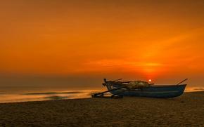 Картинка море, закат, берег, лодка, Шри-Ланка, Баттикалоа