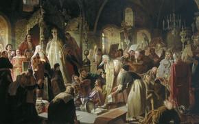 Картинка масло, Холст, трон, царица, православие, 1881, христианство, Василий ПЕРОВ, Спор о вере