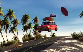 Обои пальмы, 3D Графика, скорость, дорога, зонт, отпуск, чемоданы, машина, авто, солнце, небо