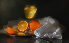 Картинка бокал, апельсины, напиток