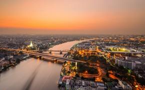 Картинка мост, город, река, вид, вечер, панорама, Таиланд, Бангкок, Чао Прайя