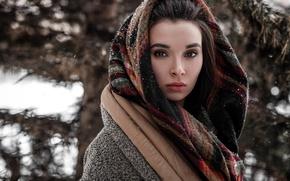 Картинка зима, взгляд, девушка, снег, портрет, шарф, фотограф, платок, Model, боке, Andrey Vechkenzin, Regina Gumerova