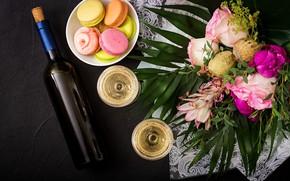 Картинка цветы, вино, colorful, бокалы, pink, flowers, пирожные, sweet, purple, macaroon, french, macaron, макаруны