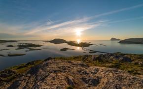 Картинка острова, мост, утро, Норвегия, панорама