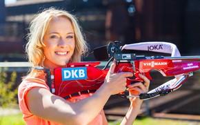 Обои биатлон, Maren Hammerschmidt, блондинка, Марен Хаммершмидт, немецкая биатлонистка, biathlon