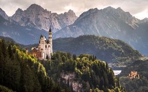 Картинка горы, замок, Германия, Бавария, Germany, замки, Bavaria, Alps, Neuschwanstein Castle, Замок Нойшванштайн, Замок Хоэншвангау, Hohenschwangau …