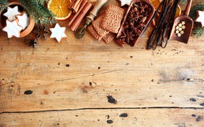 Картинка апельсин, печенье, Рождество, Новый год, корица, ваниль, New Year, Merry Christmas