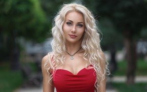 Обои girl, long hair, dress, photo, photographer, blue eyes, model, lips, face, blonde, necklace, red dress, ...