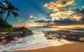 Обои закат, побережье, небо, Makena Cove, Matt Anderson, лучи, море